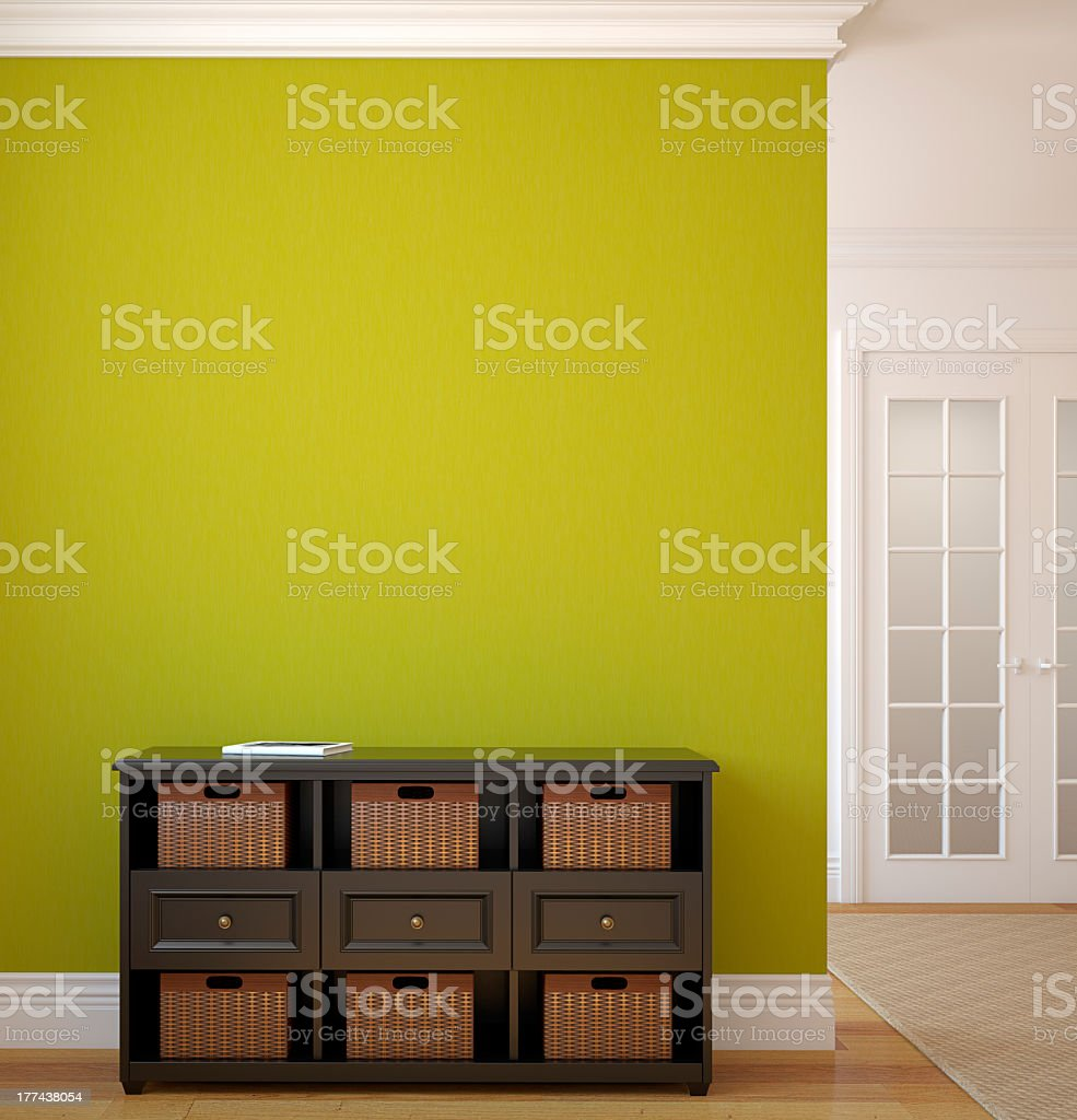 Lime green hallway and cabinet royalty-free stock photo