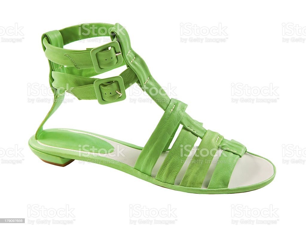Lime green leather tall flat sandal stock photo