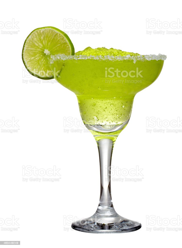 A lime green margarita with a slice of lime stock photo