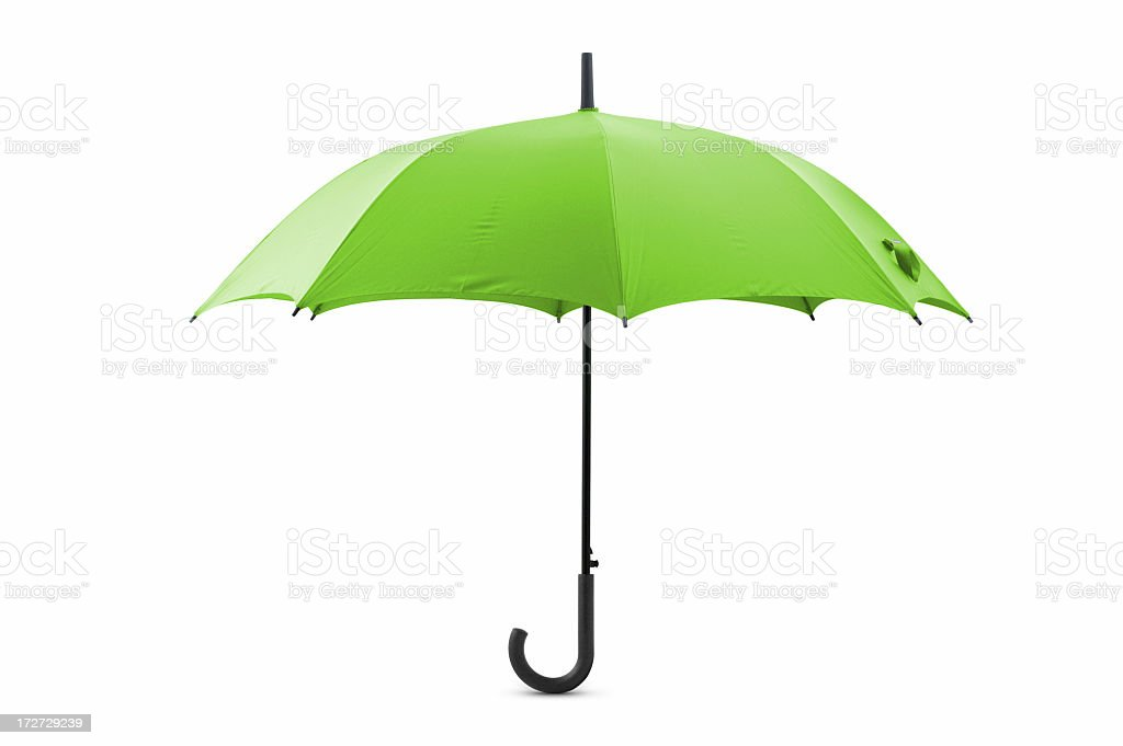 Lime green open umbrella with a curly handle royalty-free stock photo