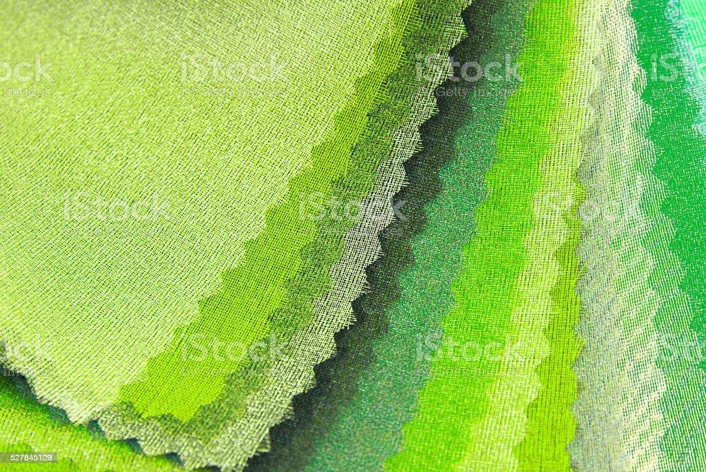 lime green organza color selection stock photo