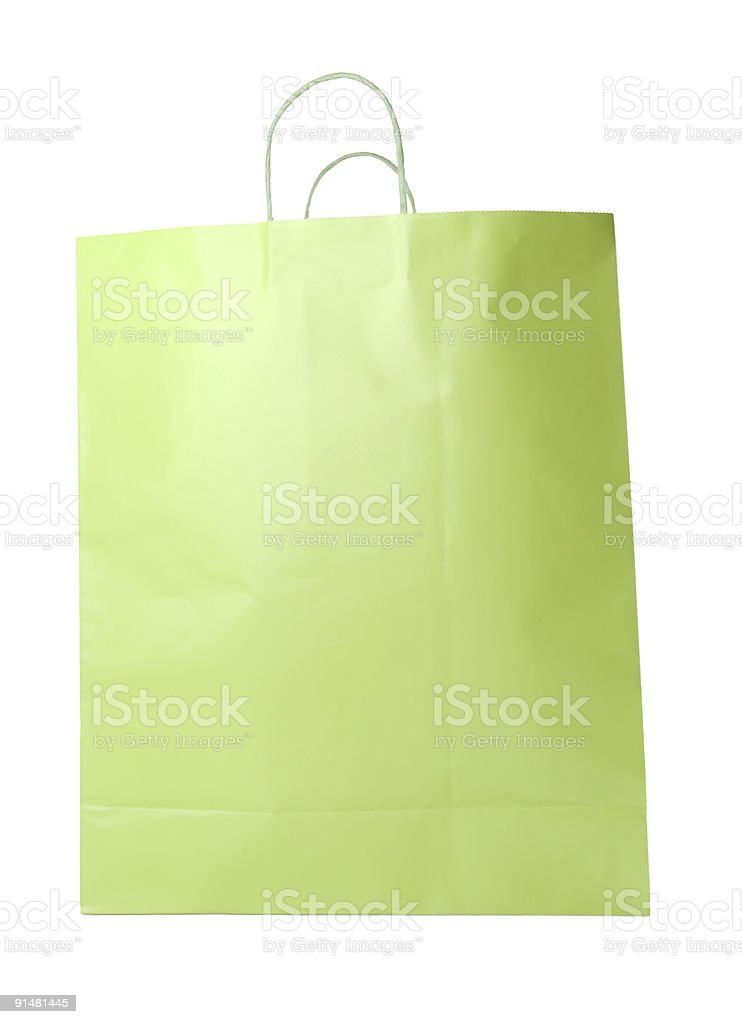 Lime Green Shopping Bag Isolated royalty-free stock photo