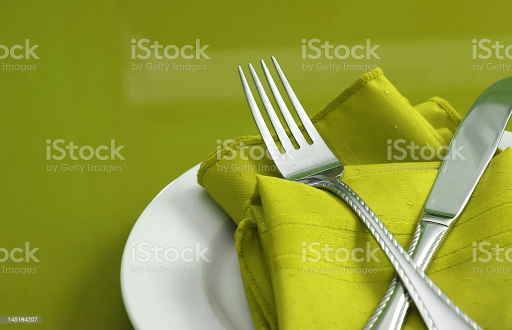 Lime Green Table Setting stock photo