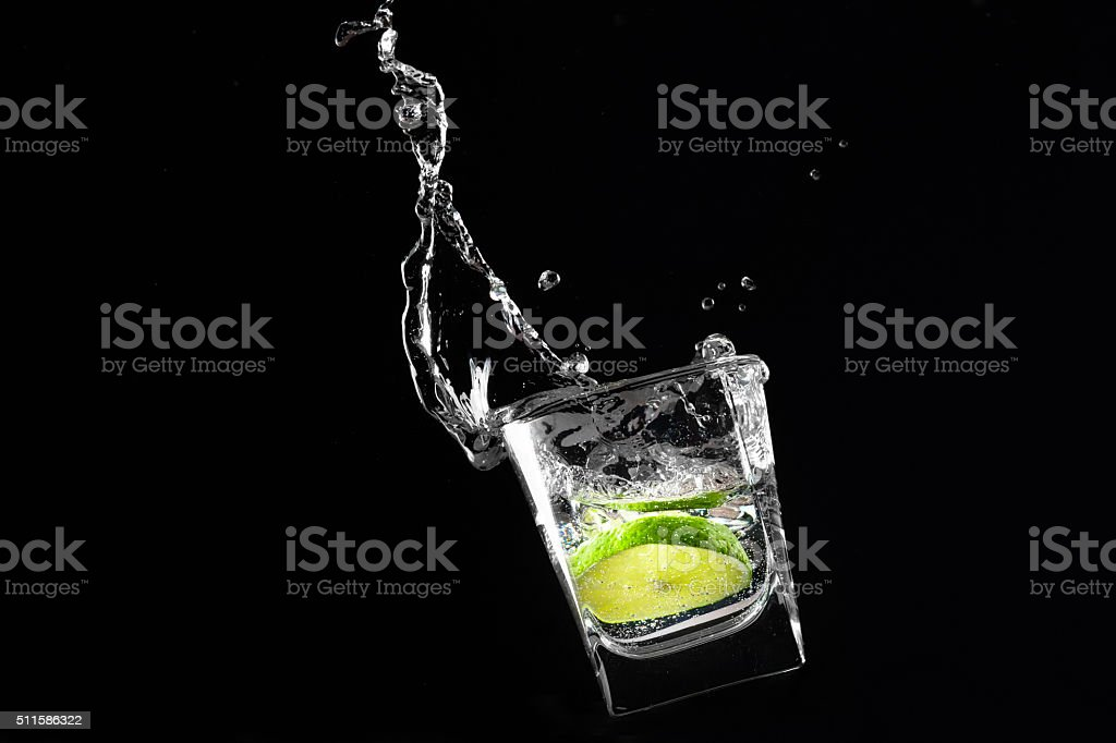 Lime in the glass stock photo