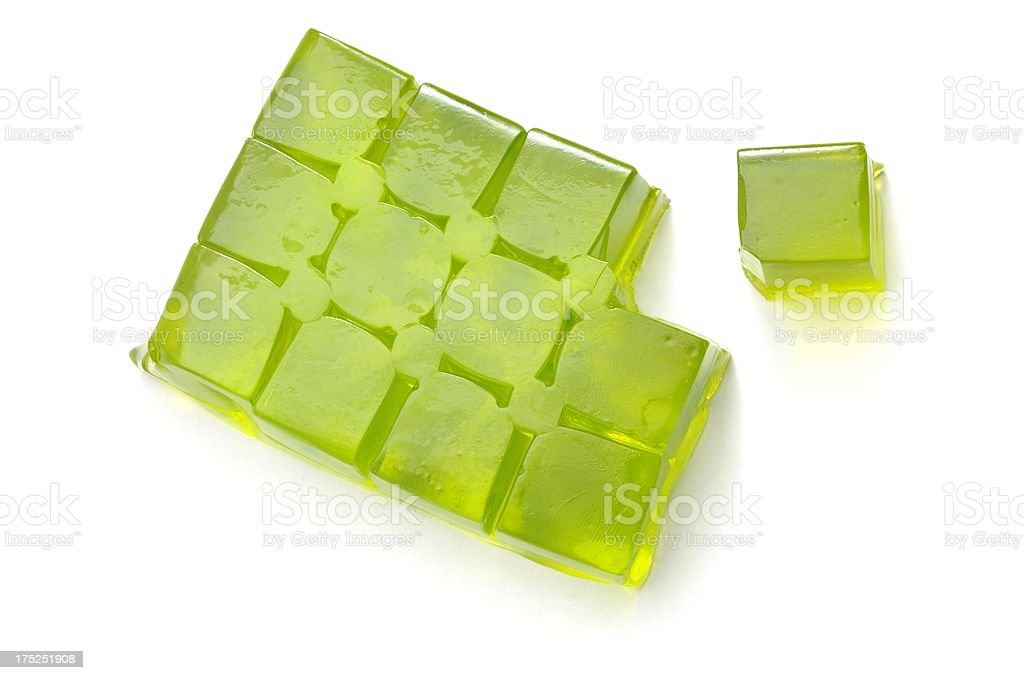 Lime Jelly cubes from above. stock photo