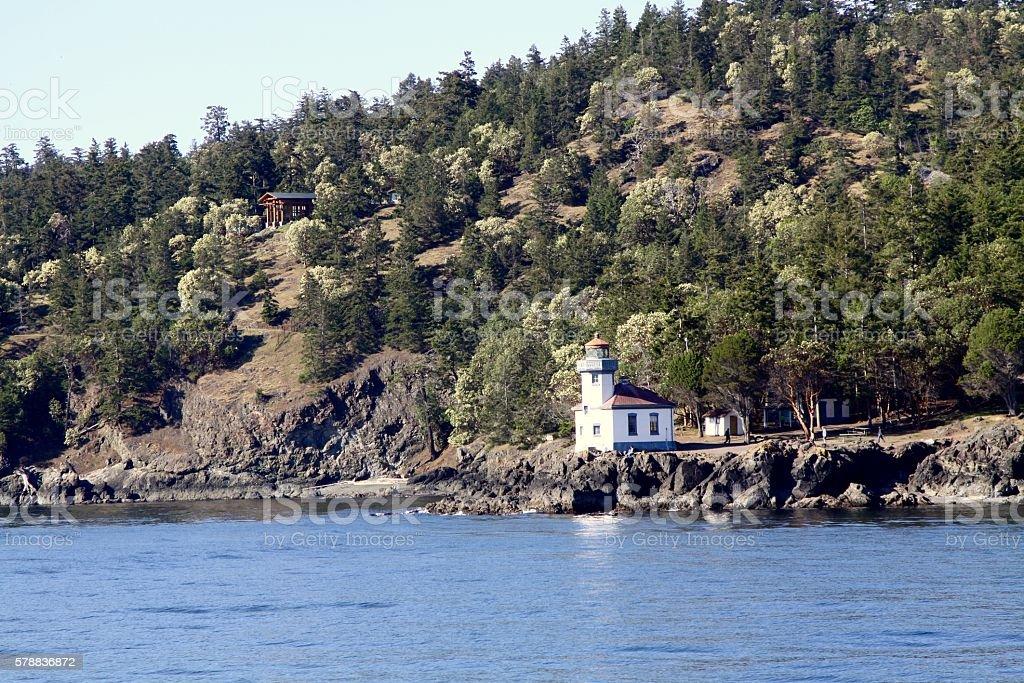 Lime Kiln Lighthouse On San Juan Island stock photo