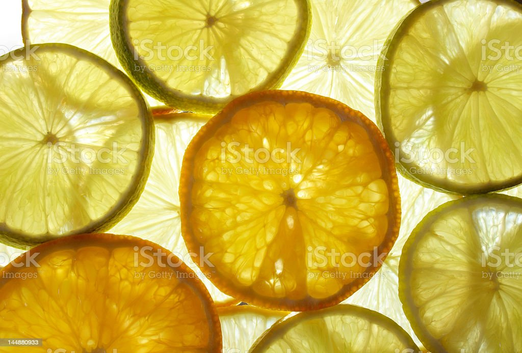 lime, lemon and orange slices royalty-free stock photo