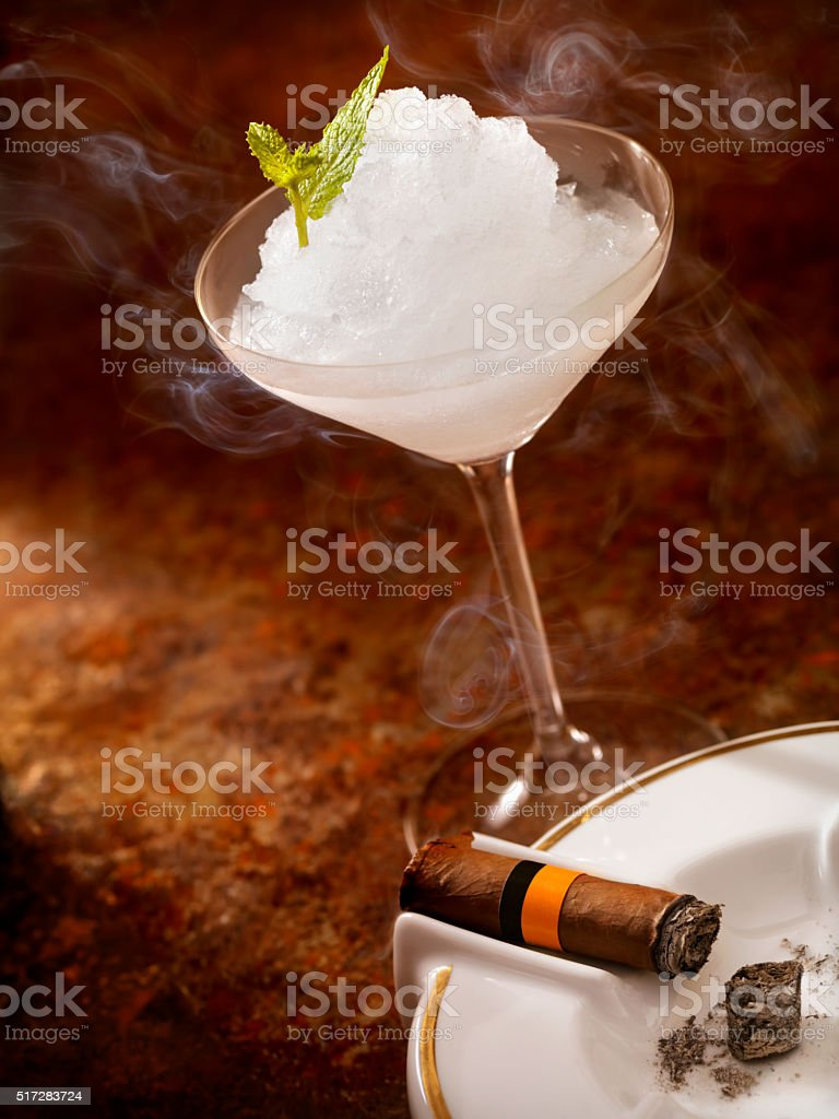 Lime Margarita and a Cigar stock photo