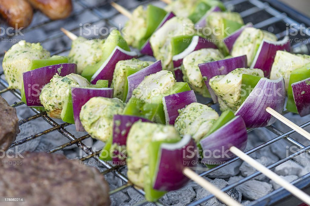 Lime, Mint & Coriander Chicken Kebabs stock photo