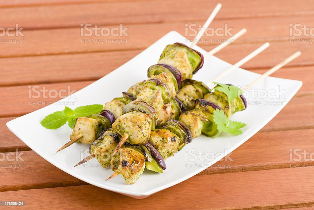 Lime, Mint & Coriander Chicken Kebabs royalty-free stock photo