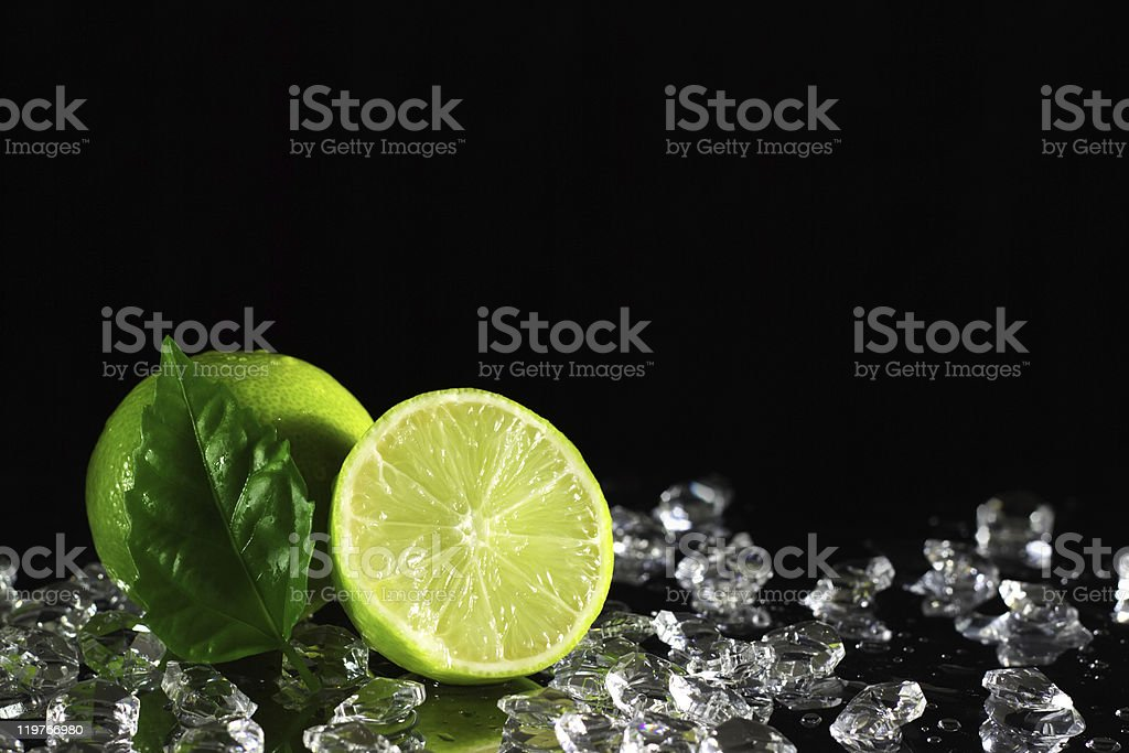 Lime on a black background royalty-free stock photo