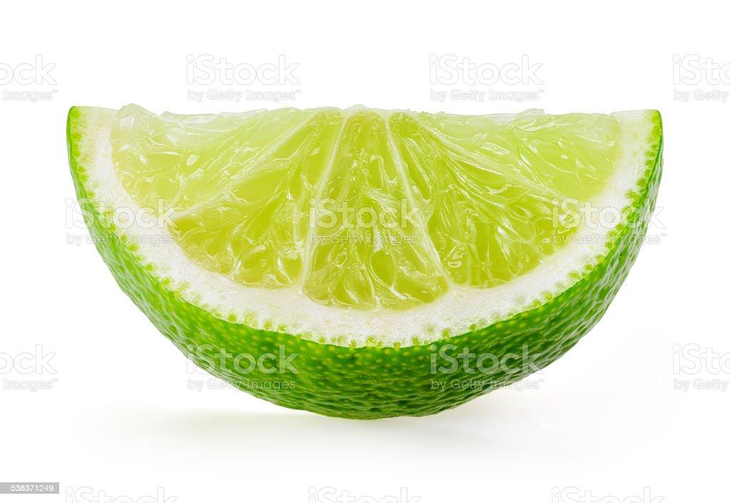 Lime slice isolated on white stock photo