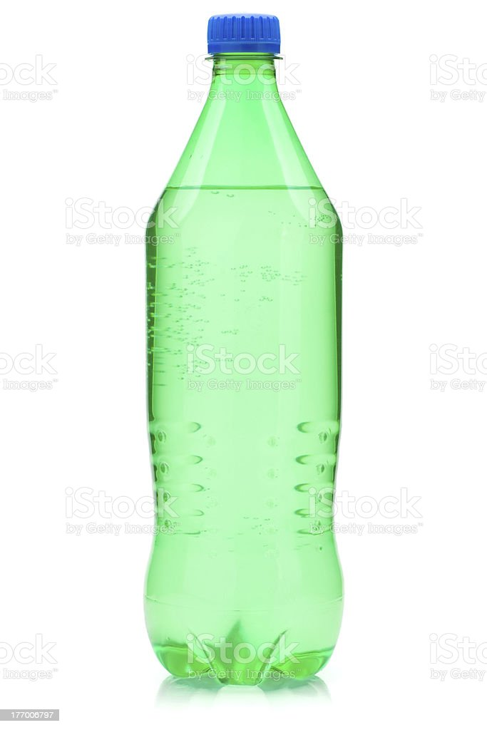 Lime soda bottle stock photo
