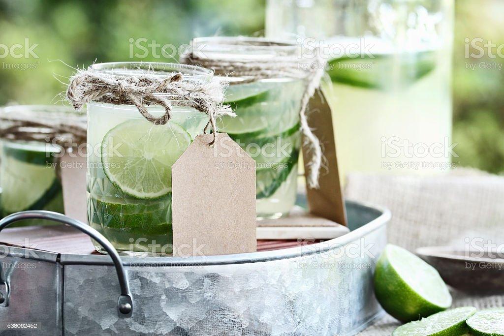 Limeade in Mason Jars stock photo