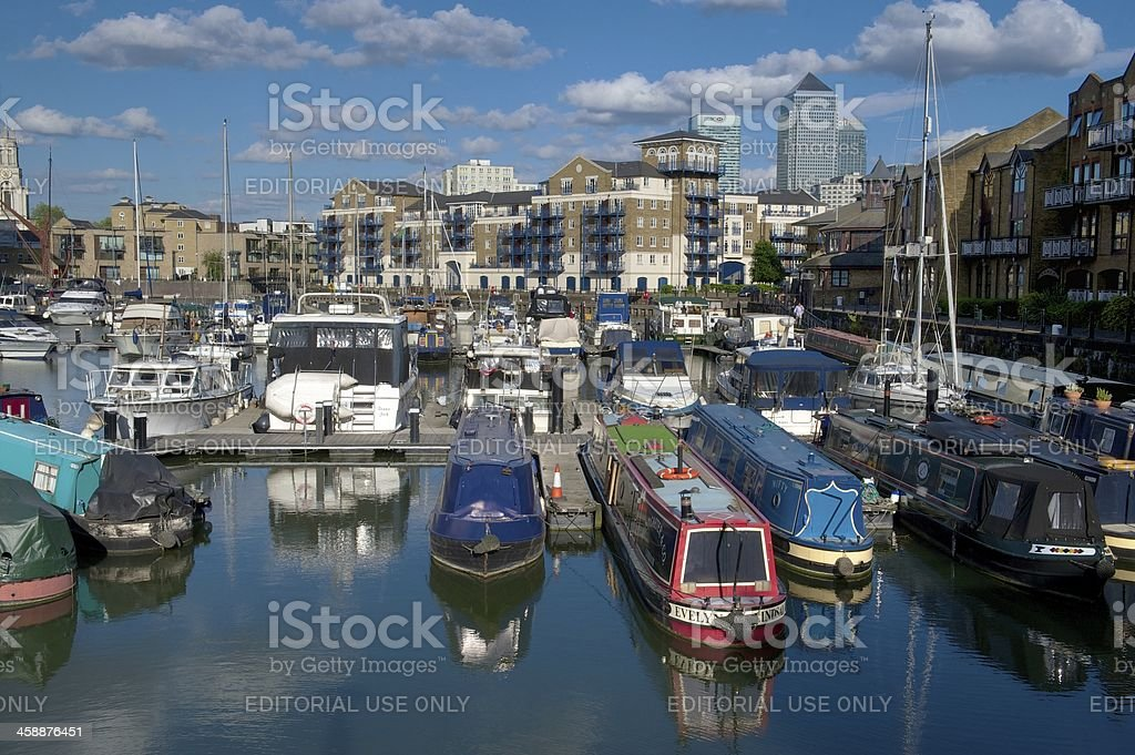 Limehouse Basin and Canary Wharf, London, UK stock photo