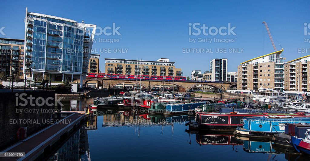 Limehouse Basin DLR stock photo