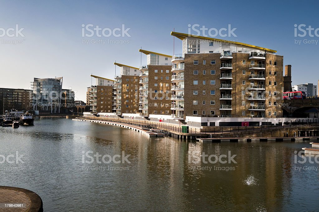Limehouse Basin in East London stock photo