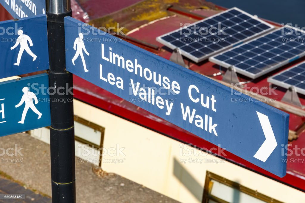 Limehouse Cut and Lea Valley Walk street sign stock photo
