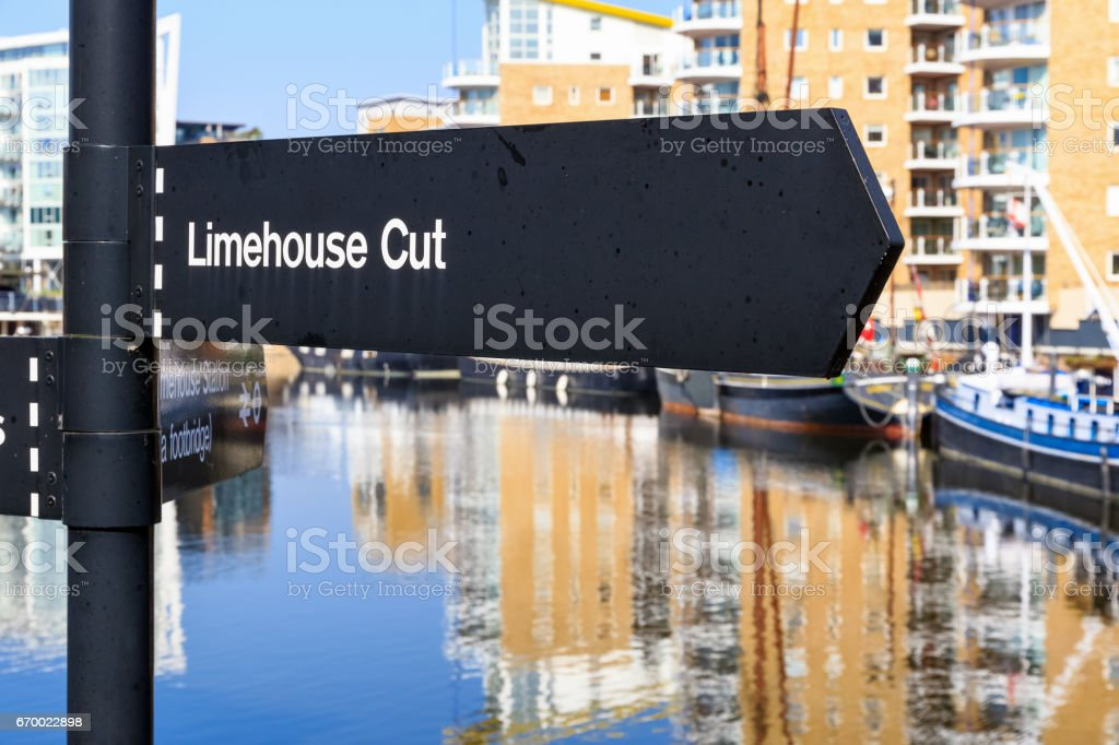 Limehouse Cut street sign stock photo