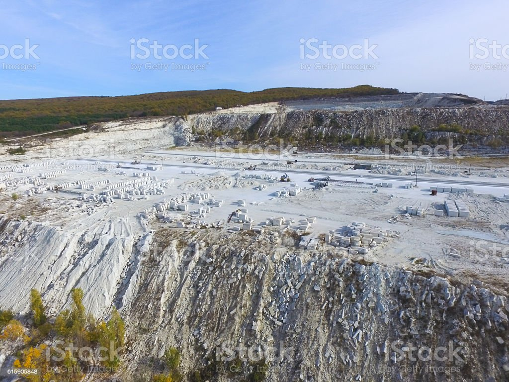 AERIAL:  Lime-pit stock photo