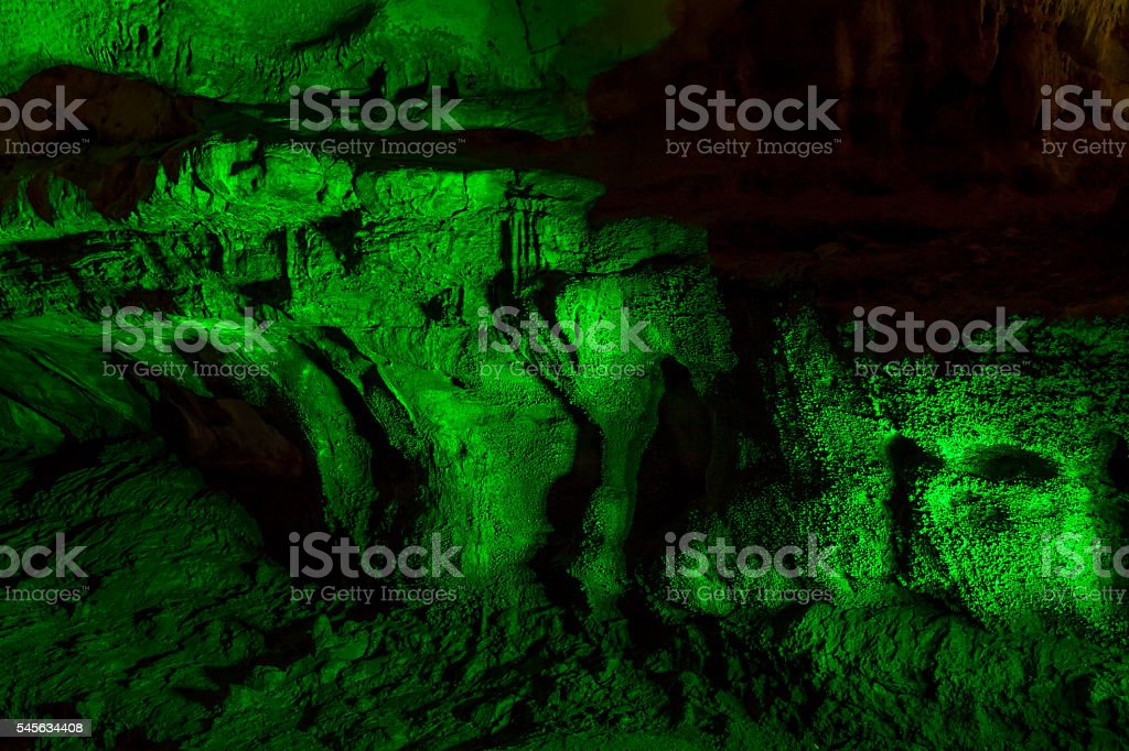 limestone cave stalactite stalagmite Prometheus georgia stock photo