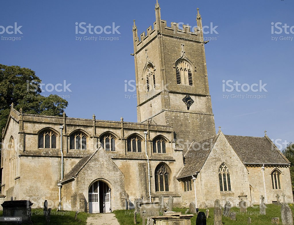 Limestone Church in the Cotswolds stock photo