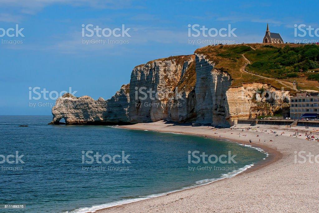 Limestone cliffs of Etretat stock photo