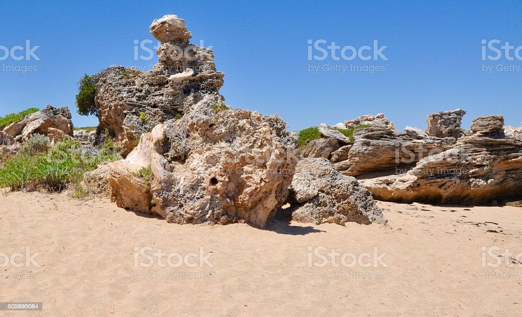 Limestone Creations: Cape Peron, Western Australia stock photo