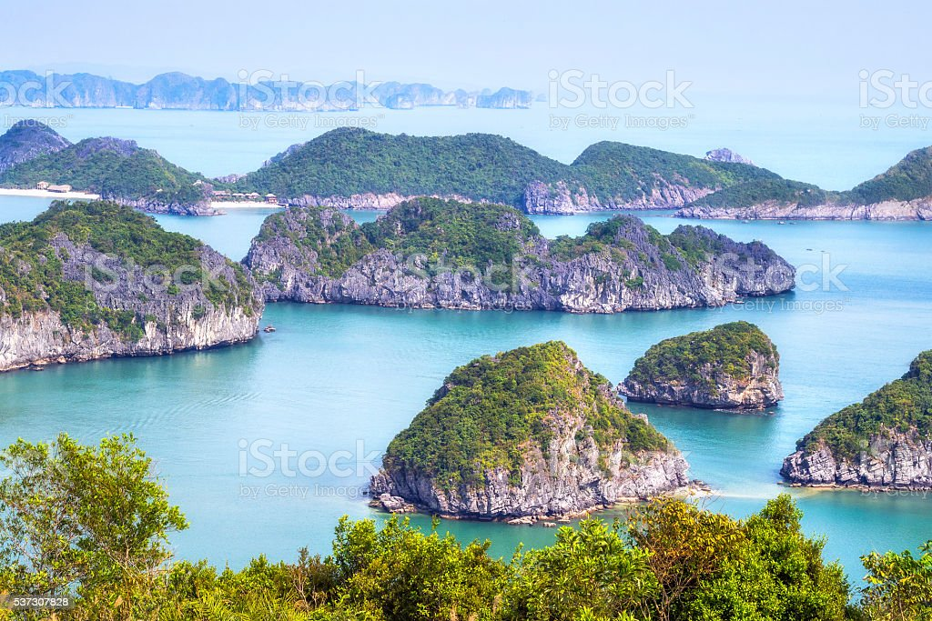 Limestone Karst Scenery in Halong Bay, North Vietnam stock photo