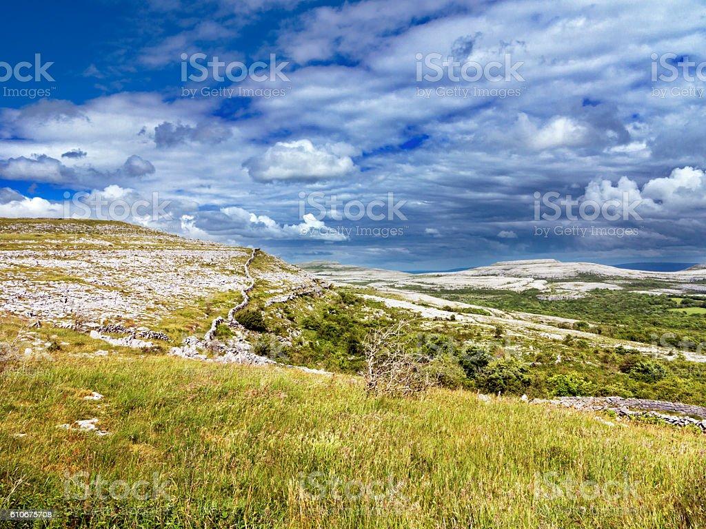 Limestone landscape The Burren, Clare, Ireland stock photo