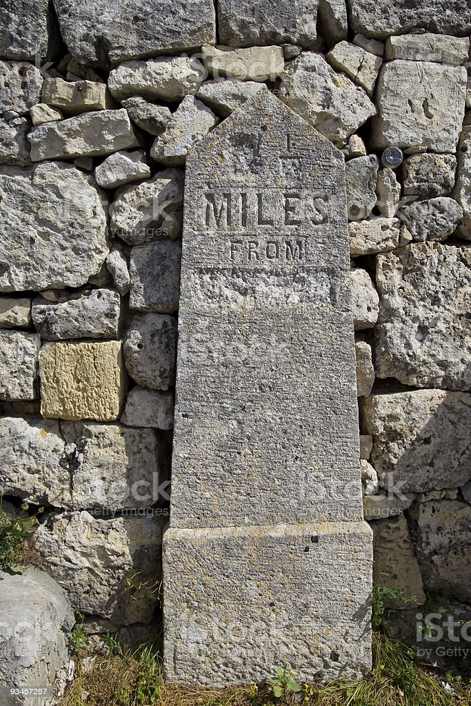 Limestone Mile Stone royalty-free stock photo