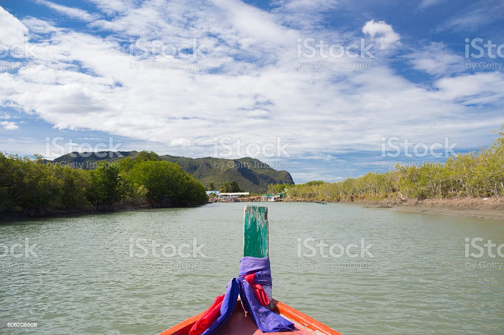limestone mountains and rock cliff mountains with surrounded mangrove forest Стоковые фото Стоковая фотография