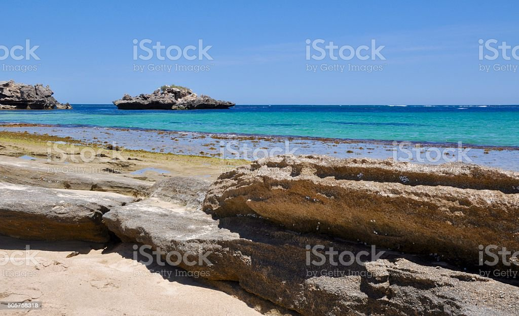 Limestone on the Beach stock photo