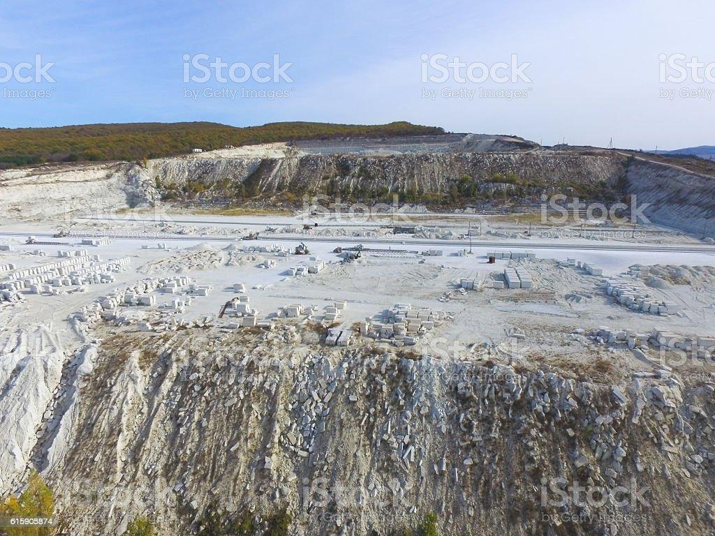AERIAL : Limestone quarry stock photo