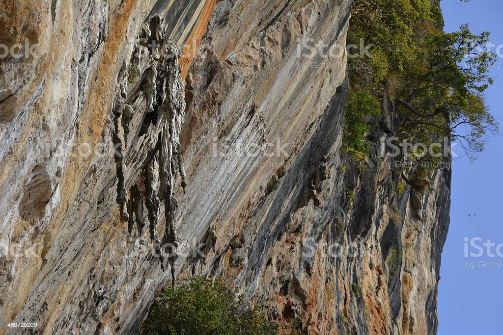 Limestone rock at Ton Sai beach. stock photo