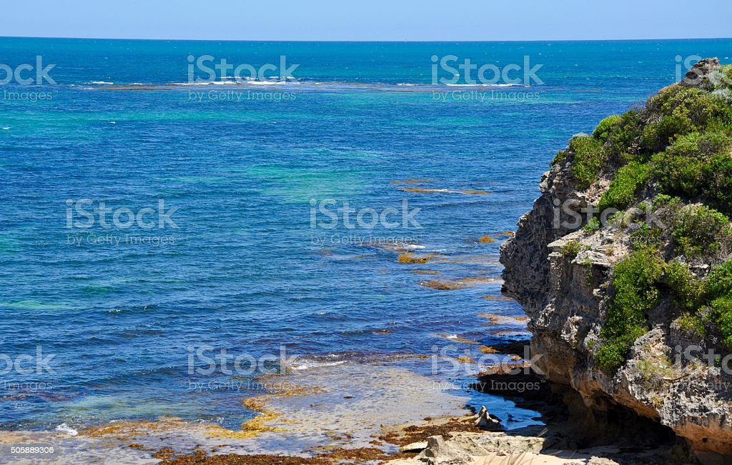 Limestone Rock with Indian Ocean at Cape Peron stock photo