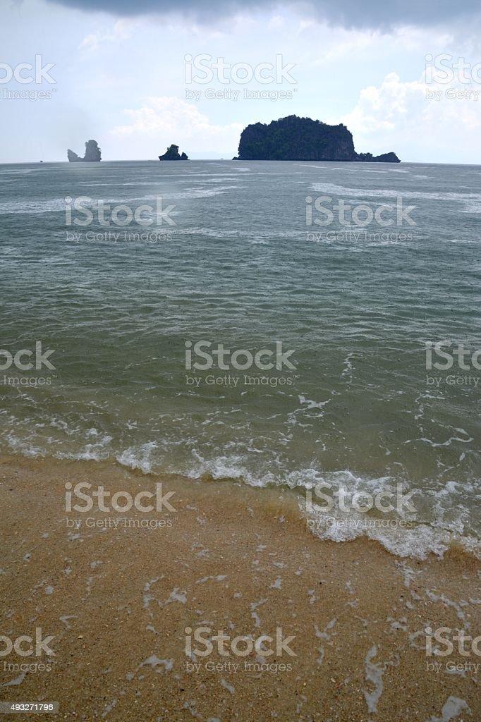 Limestone rocks at Tanjung Rhu beach, Pulau Langkawi - Malaysia stock photo