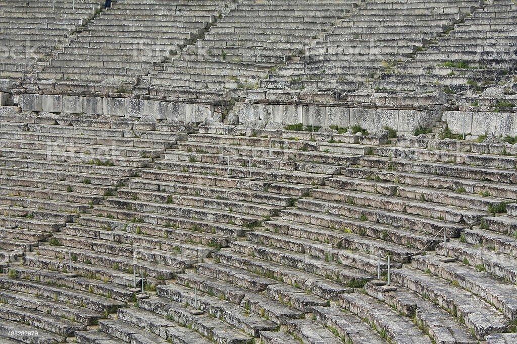 Limestone Seats in Greek Ancient Theatre of Epidaurus royalty-free stock photo
