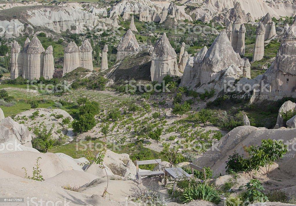 Limestone valley in Turkey stock photo