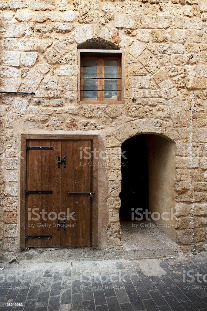 Limestone wall in ancient city Saida, Lebanon stock photo