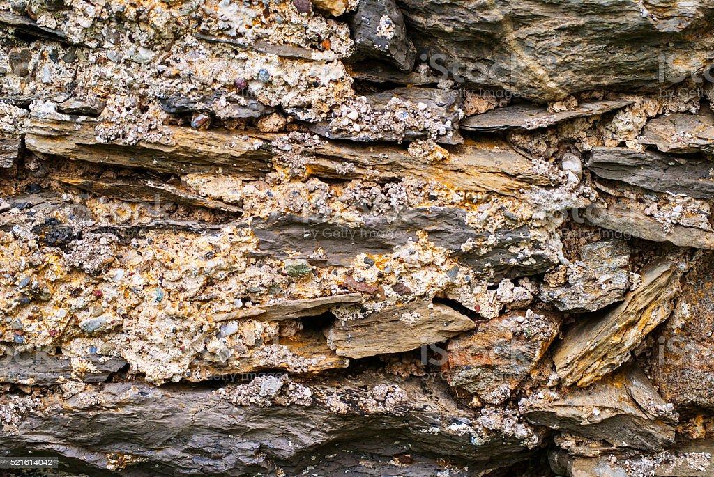 Limestone wall of an old chapel stock photo