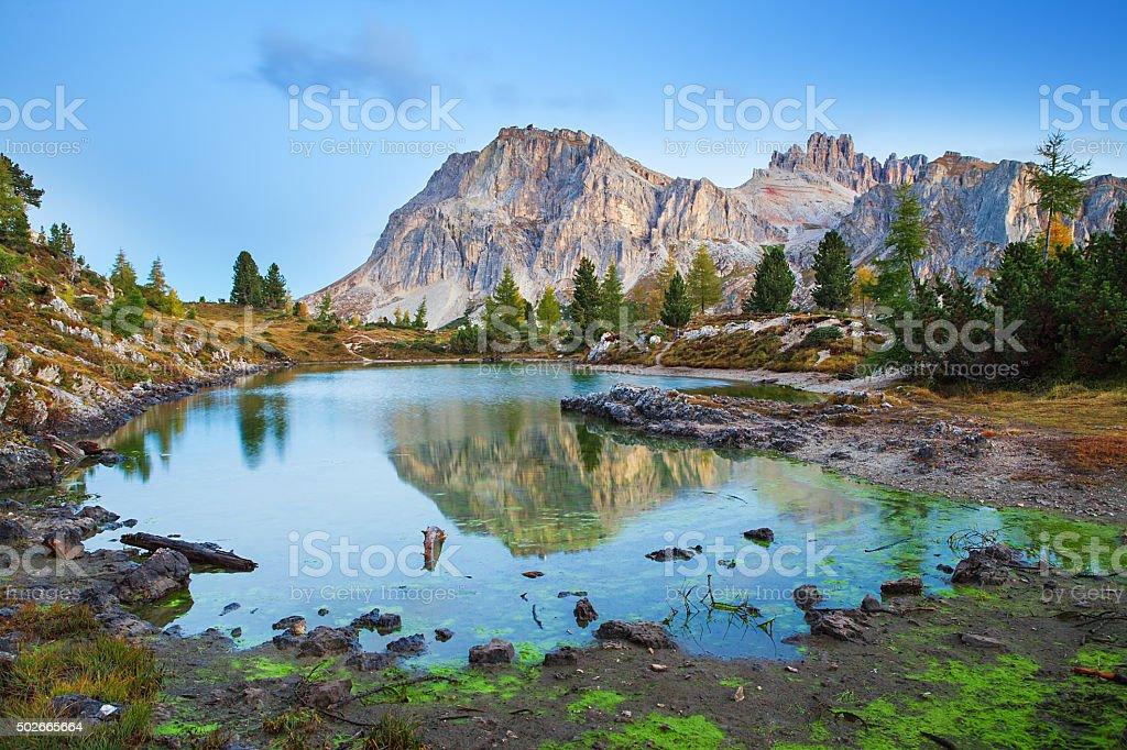 Limides Lake and Mount Lagazuoi, Dolomites stock photo
