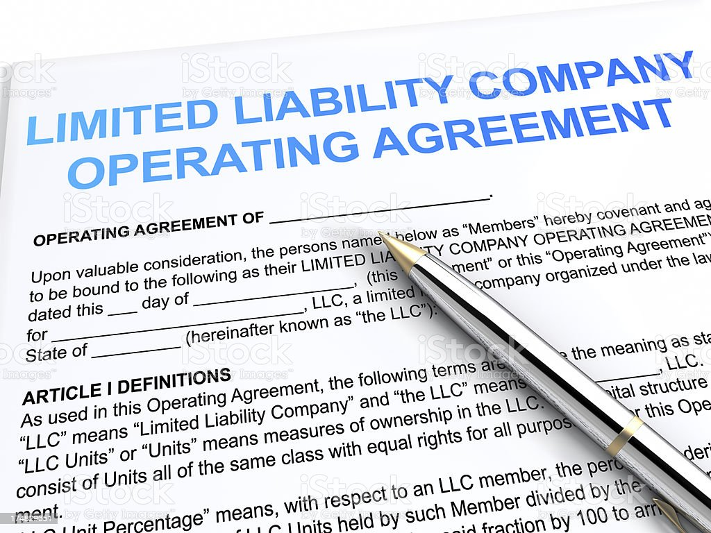 Limited Liability Company operation agreement stock photo