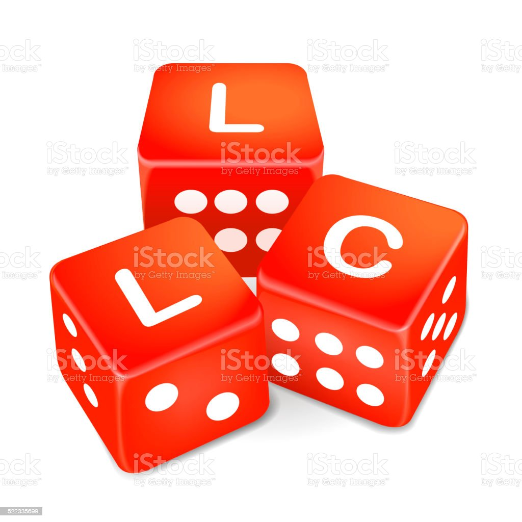 limited liability company words on three red dice stock photo