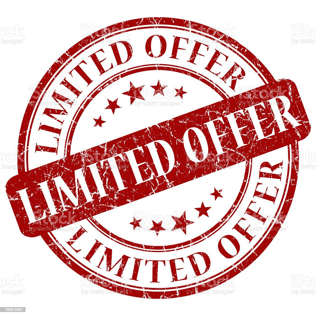 limited offer red round stamp royalty-free stock photo