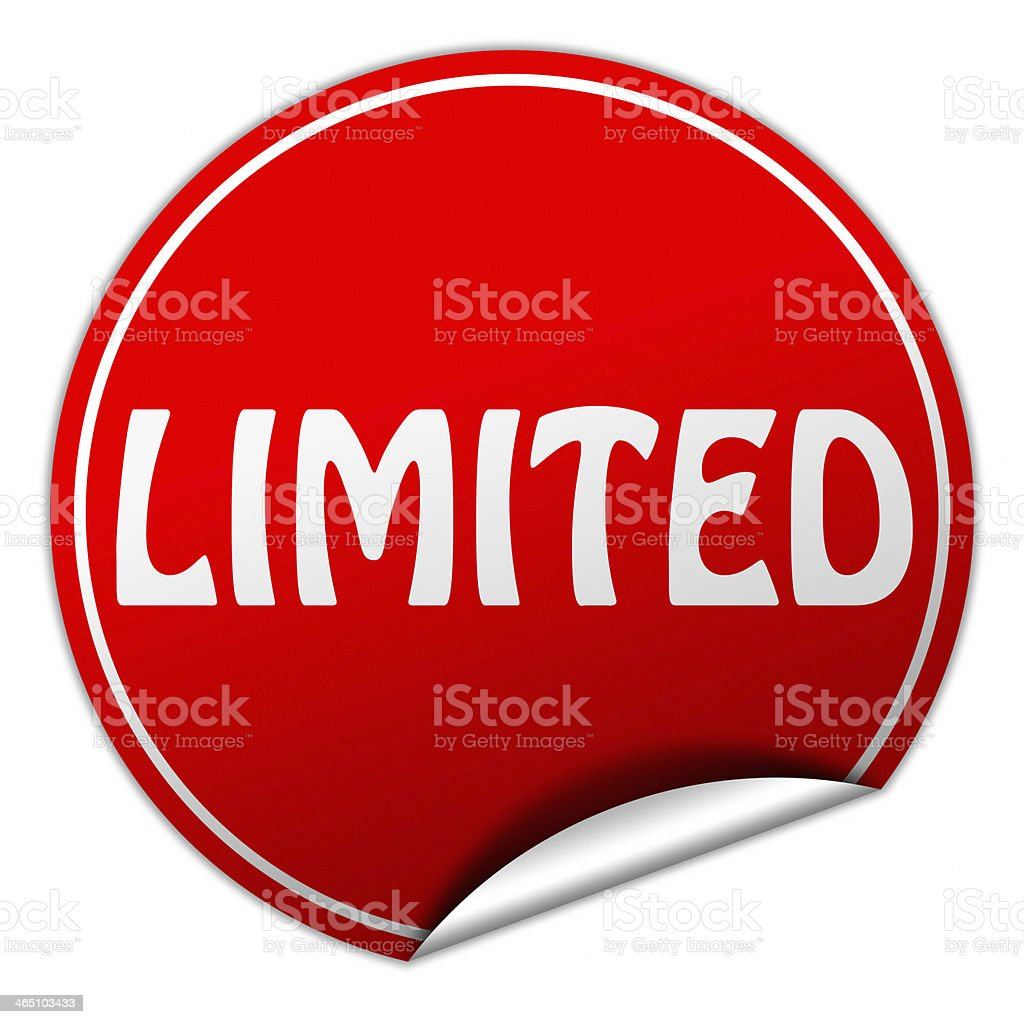 limited round red sticker on white background stock photo