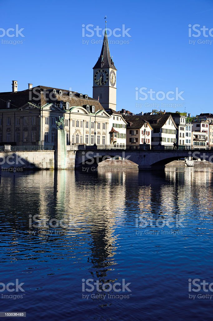 Limmat Riverside with Church Tower of St. Peter (XXXL) stock photo