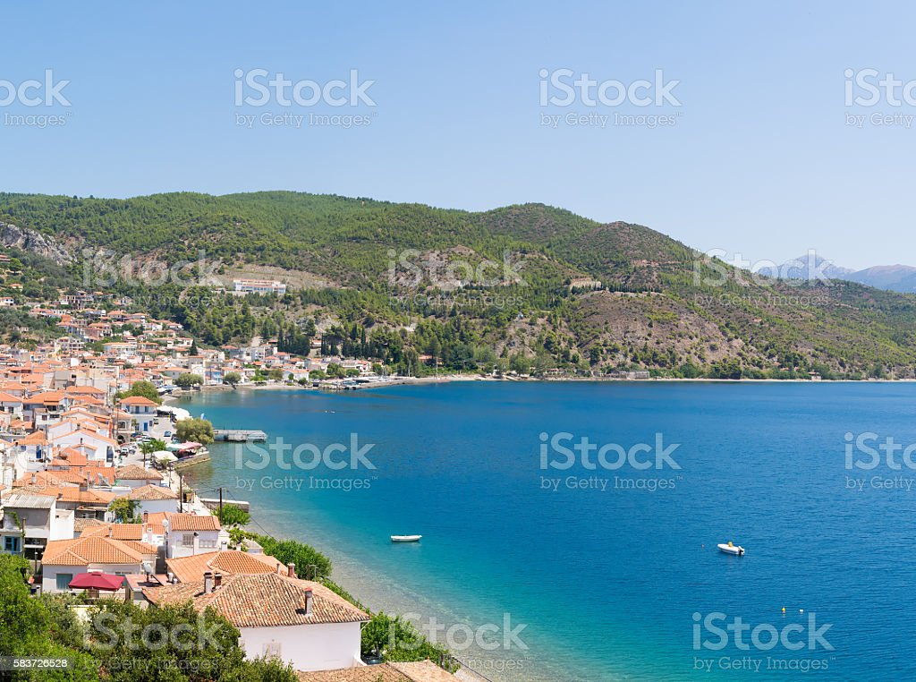 Limni village at Euboea in Greece. Panoramic view. stock photo