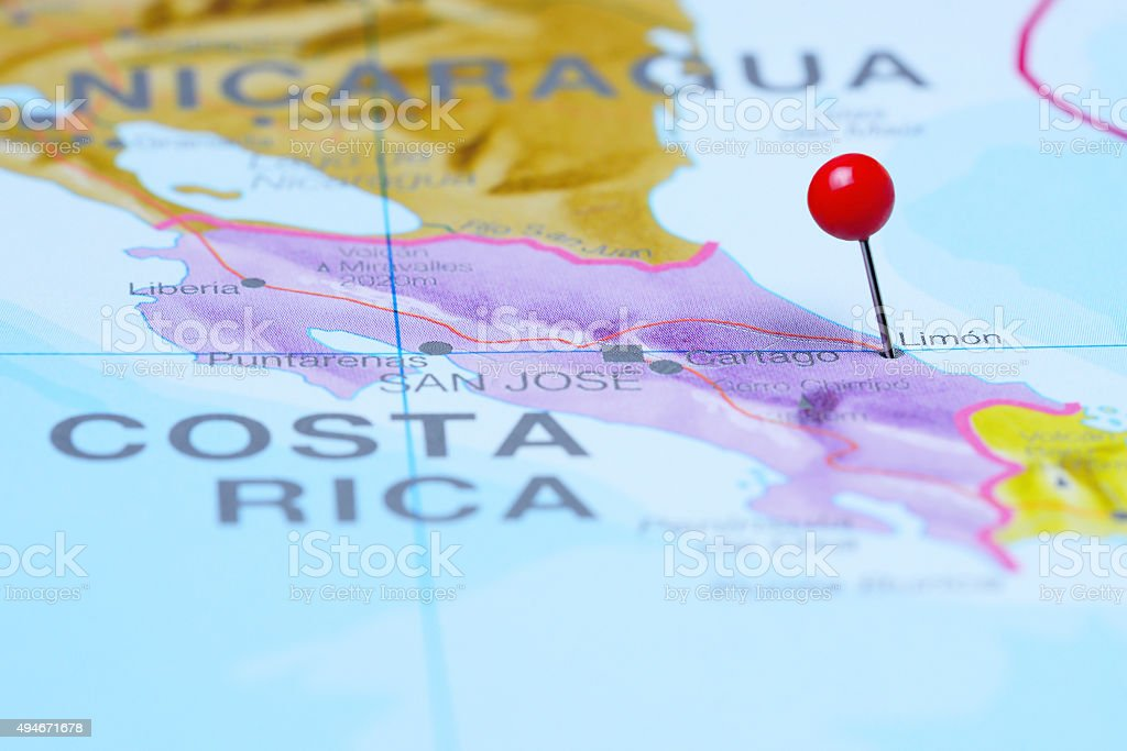 Limon pinned on a map of America stock photo
