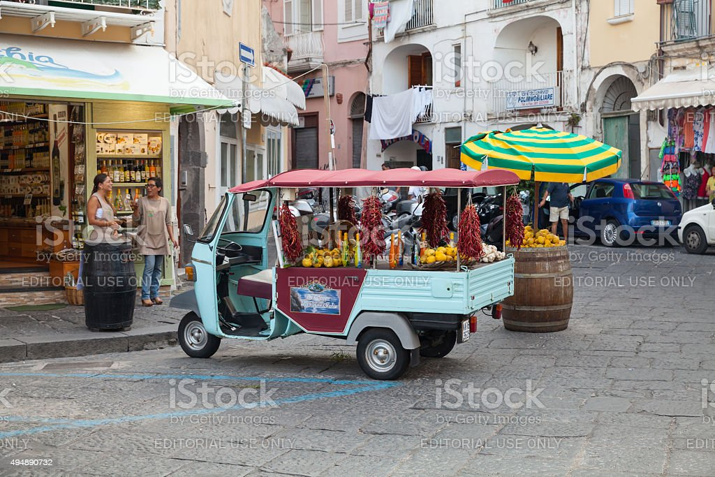 Limoncello Advertising Ape Car, Ischia stock photo